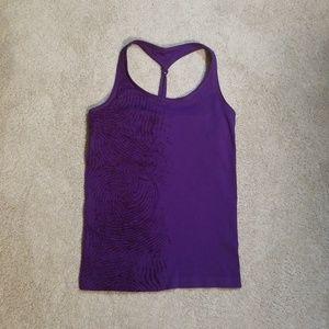 NWOT Women's L purple athletic top w/ shelf bra.
